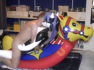 Inflatable Halo husky on rocking horse