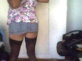 Crossdresser Sofi strips on webcam