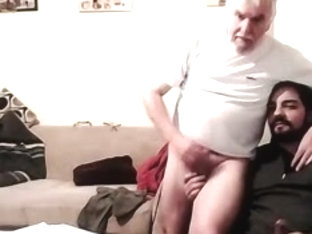 Grandpa and younger play on cam