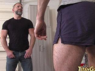 Muscly buff bear strokes