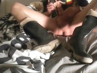 nlboots - jeans and boots on the daybed, cumming