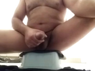 Making my fat cock cum in the bathroom