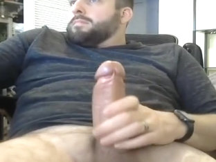 Straight is jerked off by cam with big fat cock