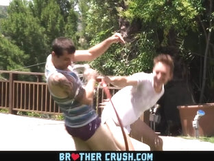 BrotherCrush - Thick Stud Barebacks His Younger Stepbrother In The Backyard