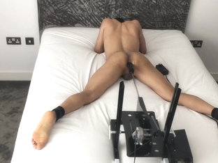 Spread Wide and Ass Fucked in Bondage by Fucking Machine