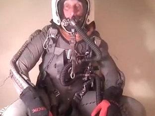 Dominique in full pressure gear in altitude chamber