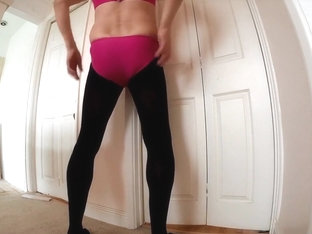 Pink Swimming Costume and Black Tights