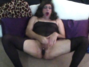 Crossdressing bitch plays like a girl