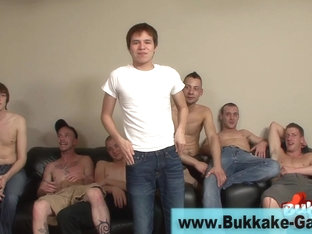 Group sucking gay dude facialized