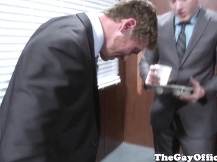 Gayoffice boss buttfucks clumsy jocky as###tant
