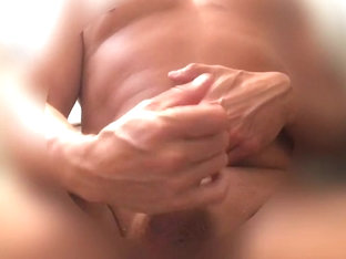 Beefy dilf rubs one out and eats his cum