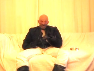 masked rubbered skinhead smokin' and jerking off
