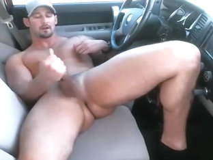 redneck jerks off in car on cam