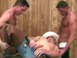 Cowboy with a white hat threesome