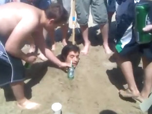 Rugby Lads Piss Hzaing A Mate At Beach