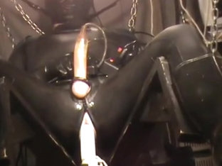 Full rubber, machine fucked and milked till cum