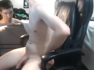 Pretty dude is jerking off at home and shooting himself on computer webcam