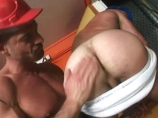 two masculine plumbers want to play with their own pipes instead of working on a real pipe