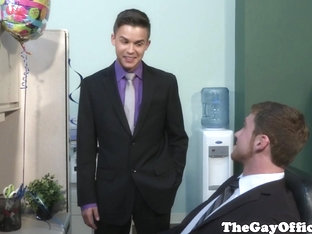 Gay office twink works on his sucking skills