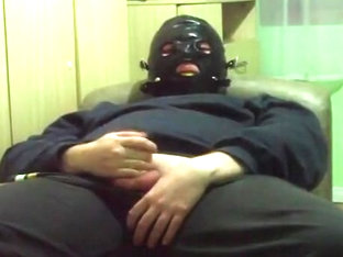 hood with gag and leather boots