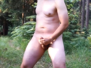 Crazy wanker jerking off at forest crossroads