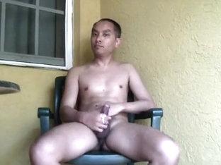 Masturbating on the balcony
