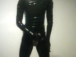 Me jerking in thight shiny latex