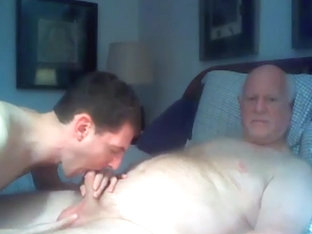 grandpa and boy play on cam