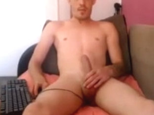 Naked romanian guy with a dildo in his ass