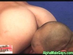Gay dude gets cumshot by his black pal
