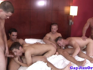 Beefy hunks enjoying love feast