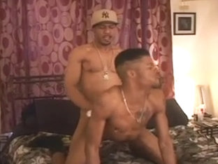 Ebony hunks slamming each other on the bed