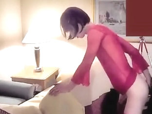 Randy crossdresser dildoing & fucking