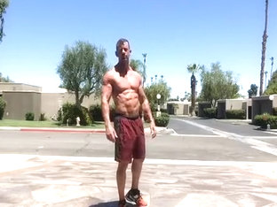 muscle dilf jerks off in public