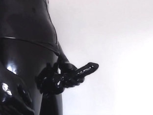 Masturbate in Black Latex Catsuit IV