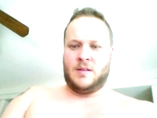 White Chubby Guy Masturbate on Skype