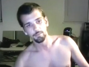 Nice-looking BF is having fun at home and shooting himself on webcam