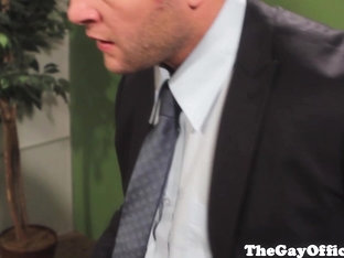 Gay office hunk rides on hard cock