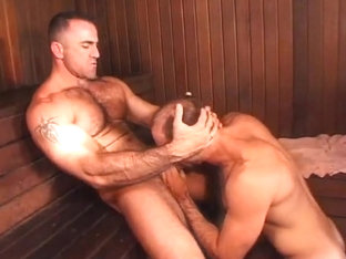 Steamed!  Hot  muscular daddies in sauna sex