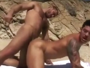 Exciting gay studs fuck on the wild nature