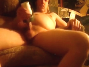 jacking off with homemade cunt toy