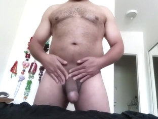 Standing and jerking my fat cock with intense cumshot