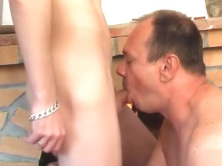 Chubby older guy is fucked hard by a smooth young twink
