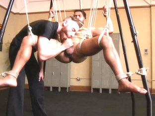 Bondage bdsm sub sucked until edge of cum