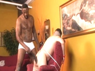 Horny male pornstar TJ Gold in incredible spanking, interracial gay xxx scene