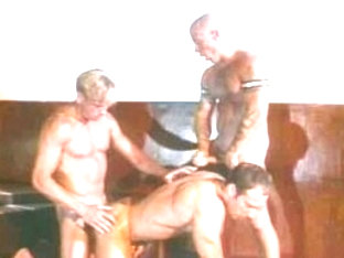 Incredible male pornstars Brett Sterling, Danny Orlis and Max Stone in horny big dick, leather gay.