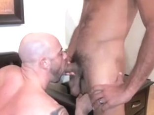 Massive gay hunks in passionate sex on the bed
