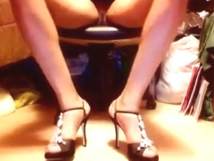 Shiny Sexy Rhinestone high heel stilettos and upskirt