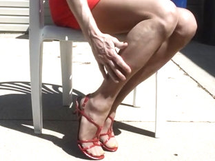 More Outdoor in Nude Pantyhose and Sandals
