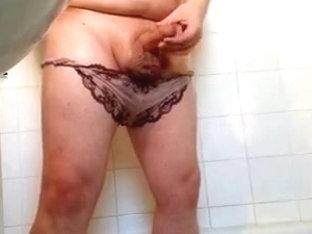 Purple Lacey Panty Bear Jackoff Cum